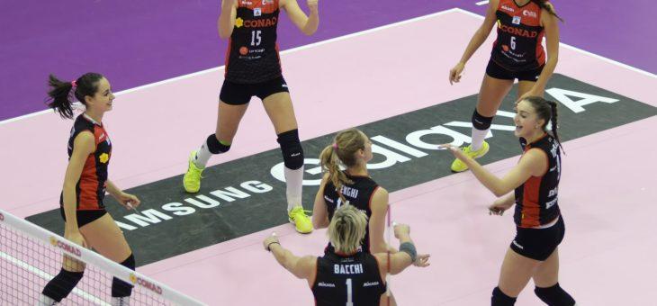 La Conad Olimpia Teodora sconfigge la seconda in classifica Trento con un perentorio 3-0