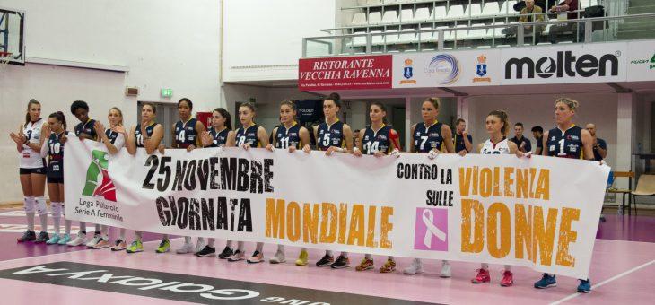Per Conad Ravenna-Sigel Marsala tutta la citta' si stringe intorno alle atlete delle due squadre per sottolineare l'importanza ed il valore della giornata mondiale contro la violenza sulle donne