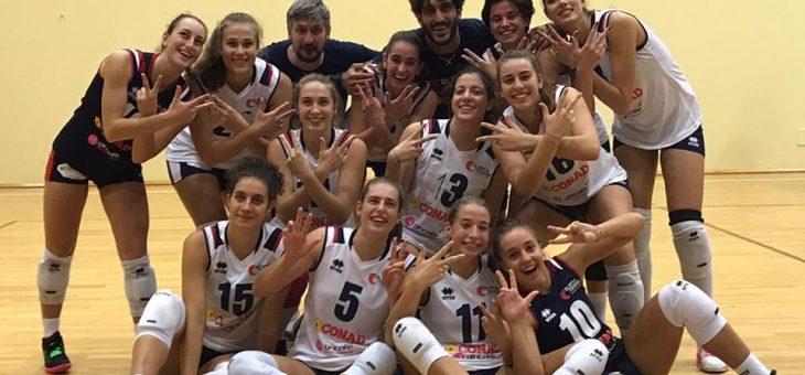 Prima vittoria per la squadra di Serie B2: le giovani ravennati espugnano Fano al tie break
